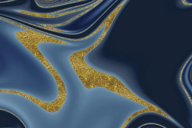 Темно-синий и золотой мрамор абстрактный фон