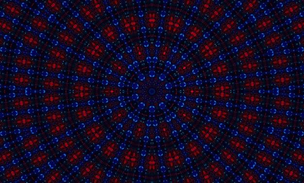 Темно-синий и красный узор калейдоскопа. красивый дизайн иллюстрации текстуры мандалы. фон абстрактный калейдоскоп