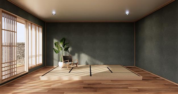 열대 객실 내부와 다다미 바닥에 짙은 파란색 침실 일본식 디자인. 3d 렌더링