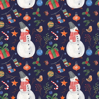 Dark blue christmas seamless pattern with bright colorful watercolor  snowmen gifts birds and balls