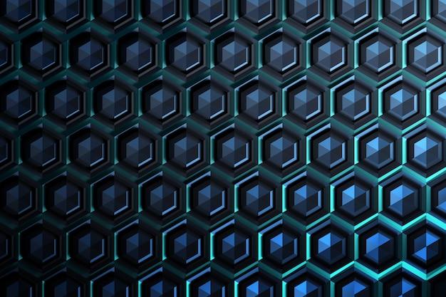 Dark blue cyan hexagonal tiles