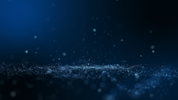Dark blue and glow dust particle abstract background, light ray shine beam effect.