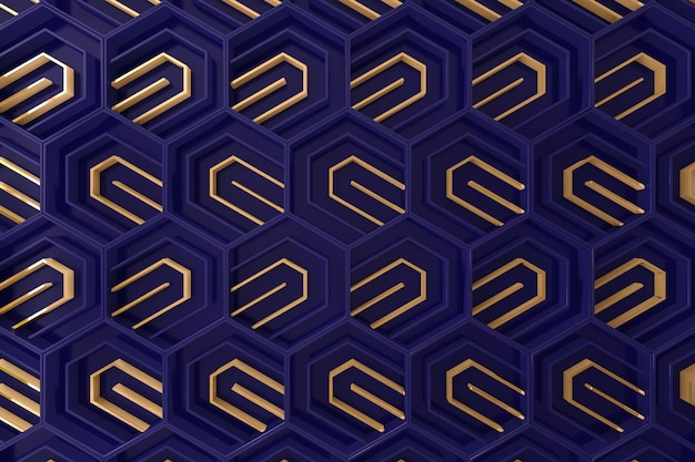 Dark blue and gold tridimensional background