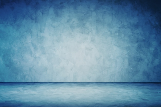 Dark blue grunge cement wall studio background