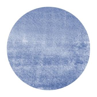 진한 파란색 손으로 그린 수채화 원형 프레임 배경 텍스처 얼룩