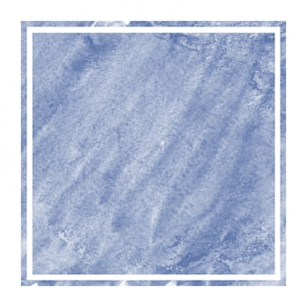 Dark blue hand drawn watercolor rectangular frame background texture with stains