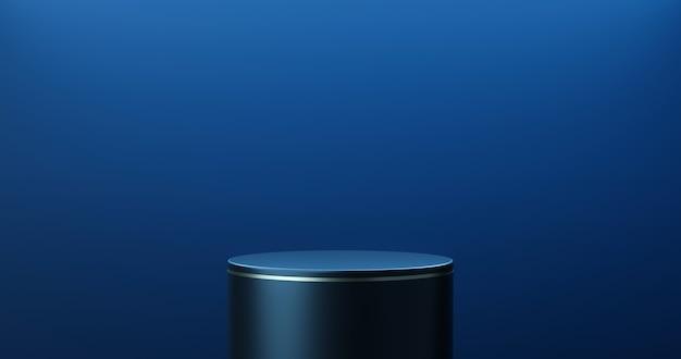 진한 파란색 제품 무대 배경 또는 스튜디오 쇼케이스 배경으로 빈 현대 미술 방에 연단 받침대 디스플레이. 3d 렌더링.