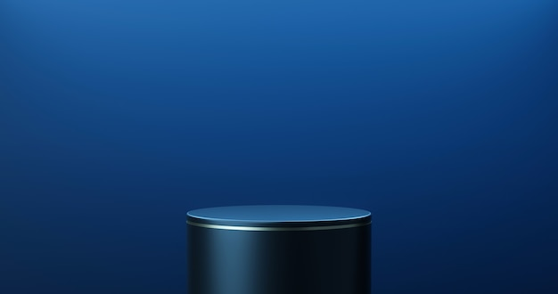 Dark blue product stage background or podium pedestal display on blank modern art room with studio showcase backdrop. 3d rendering.