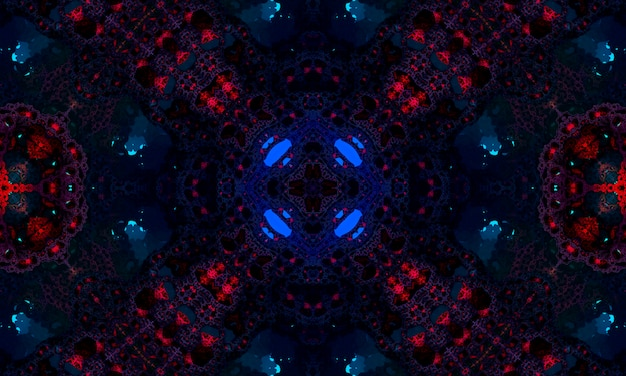 Dark blue and red kaleidoscope pattern. beautiful mandala texture illustration design. abstract kaleidoscope background