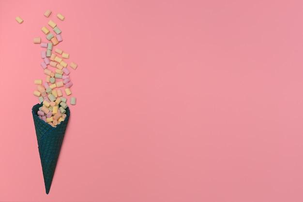 Dark blue waffle ice cream cone