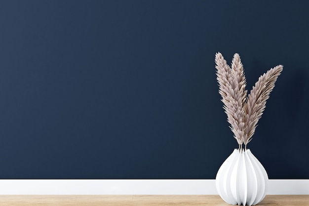 Dark blue wall background with boho decor