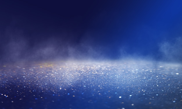 Dark blurred abstract background. glitter of blurry lights. reflection on the asphalt, smoke.