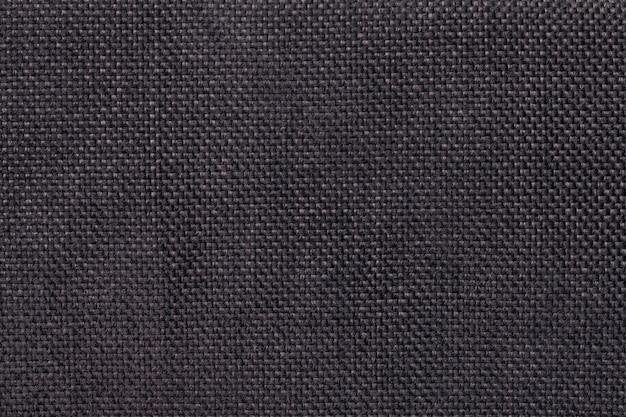 Dark brown background of dense woven bagging fabric, closeup