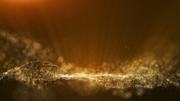 Dark brown background, digital signature with particles.