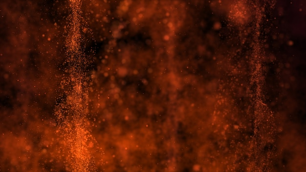 Dark brown background, hot as flames and areas with deep depths.