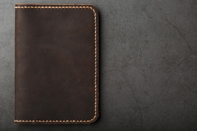 Dark brown leather passport cover. genuine leather, handmade.