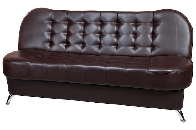 ダークブラウンのレザーレットソファベッド。