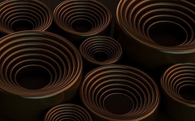Dark brown luxury abstract geometric circle pattern background 3d rendering