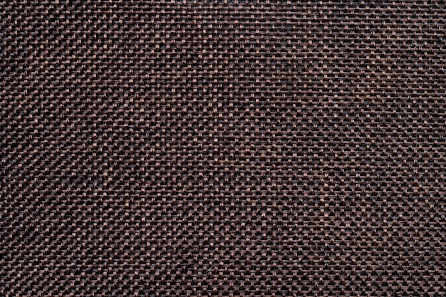 Dark brown sack or burlap texture background and empty space.