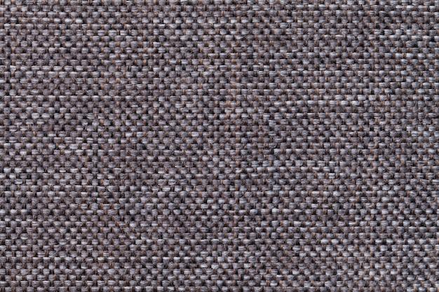 어두운 갈색 섬유 배경 근접 촬영입니다. 직물 매크로의 구조