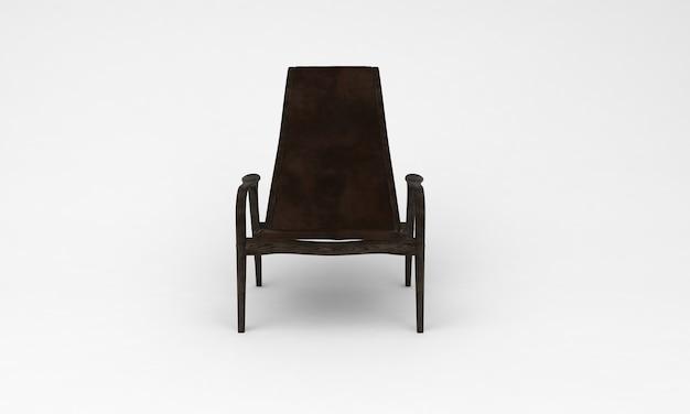 Темно-коричневый деревянный стул спереди просмотр мебели 3d-рендеринга