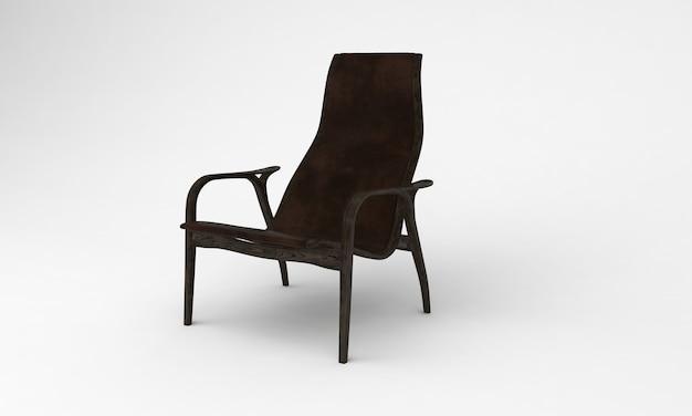 Темно-коричневый деревянный стул сбоку, вид мебели, 3d рендеринг