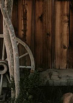 Dark brown wooden farmhouse wall backdrop