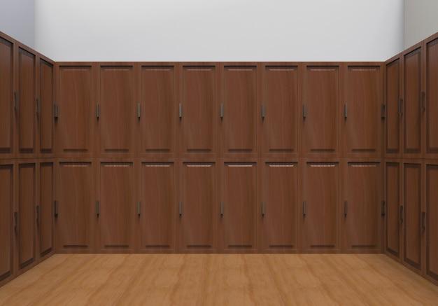Dark brown wooden locker row wall background.