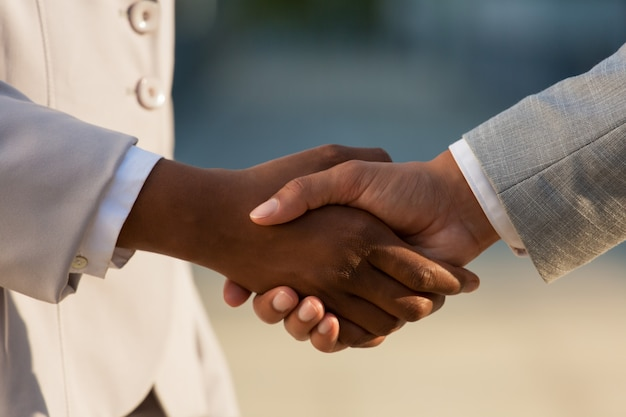 Dark businesswoman shaking hands with male colleague