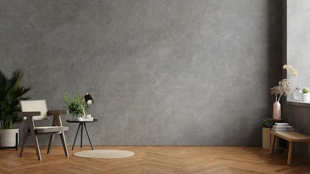 어두운 의자와 식물, 콘크리트 벽이있는 거실 인테리어의 나무 테이블. 3d 렌더링