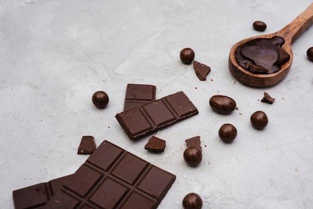 Dark chocolate bar with candies