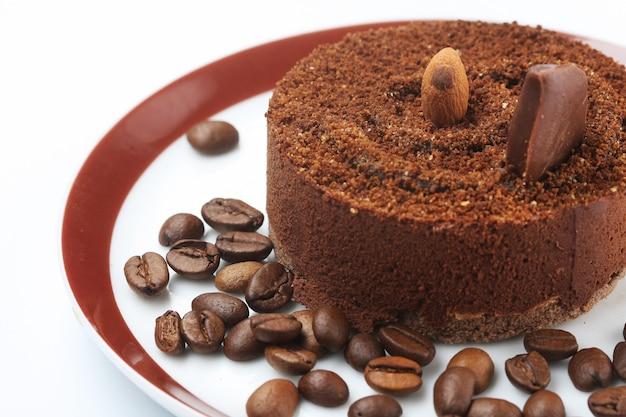 Dark chocolate cake on plate close up