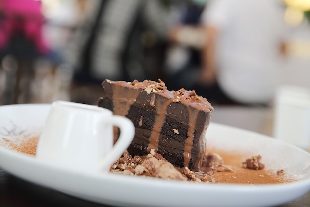 Dark chocolate cake with vanilla ice cream dessert