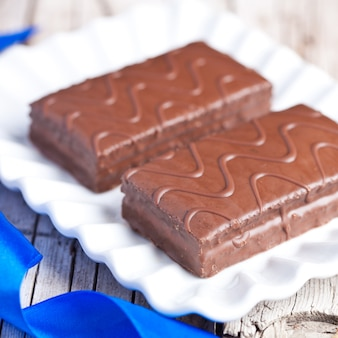 Dark chocolate cakes on a plate