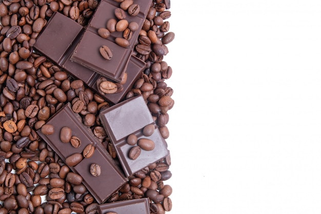 Dark chocolate and coffee beans with copy space
