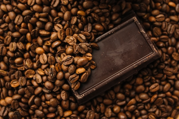 Dark chocolate on coffee beans