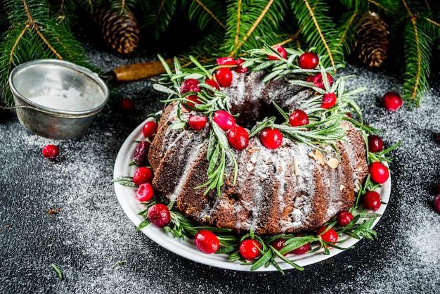 Dark chocolate gingerbread christmas bundt cake