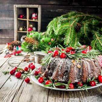 Dark chocolate gingerbread christmas bundt cake