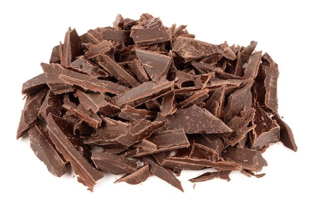 白に分離されたダークチョコレート