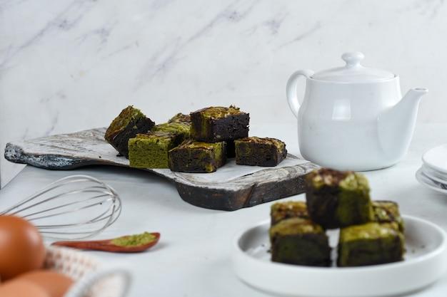 Dark chocolate and matcha greentea brownie