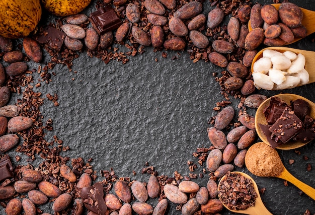 Dark chocolate pieces crushed and cocoa beans frame background, top view