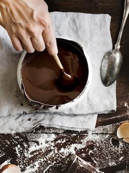 ダークチョコレートソース写真のレシピアイデア
