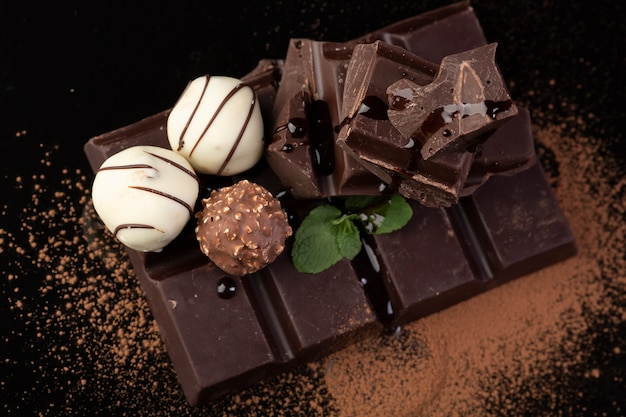Dark chocolate and truffles close up