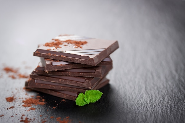 Dark chocolate with aromatic plant and cocoa powder