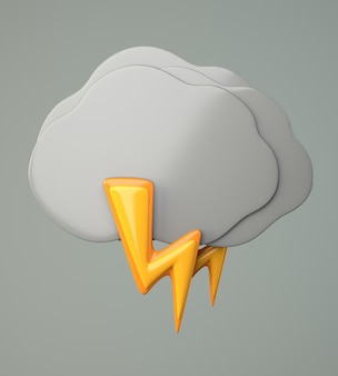 Dark cloud with lighting on gray background