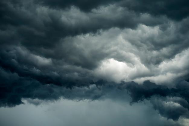 Dark clouds in thunderstorm before heavy rain