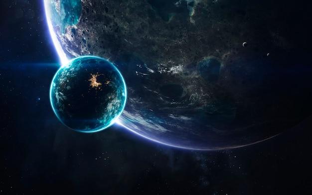 우주에 거대한 행성이있는 어두운 깊은 우주