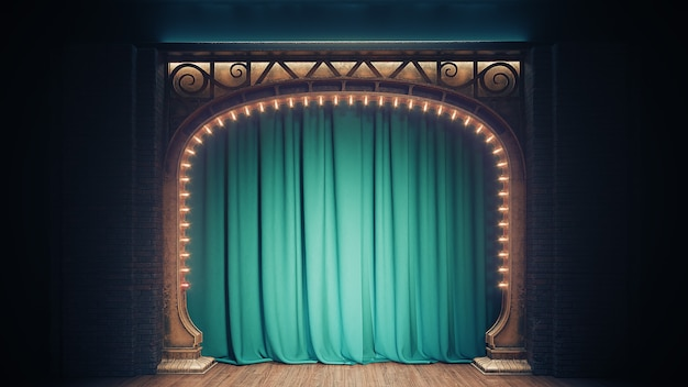 Dark empty cabaret or comedy club stage with green curtain and art nuovo arch. 3d render.