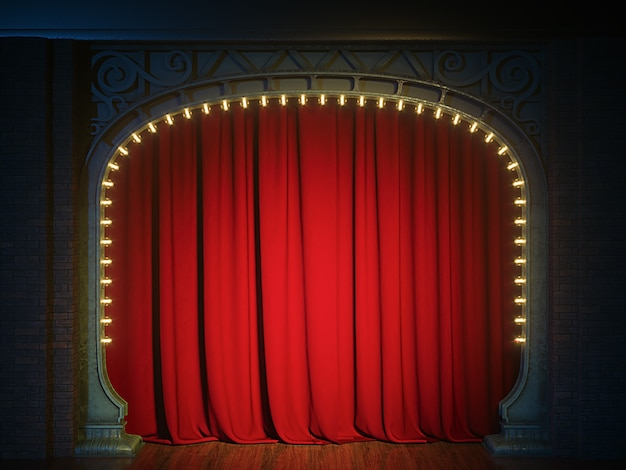 Dark empty cabaret or comedy club stage with red curtain and art nouveau arch. 3d render