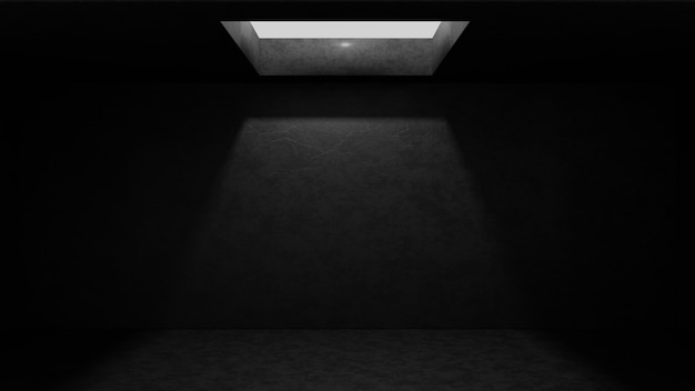 Dark empty concrete room with light shine from celling hole.3drender illustration.